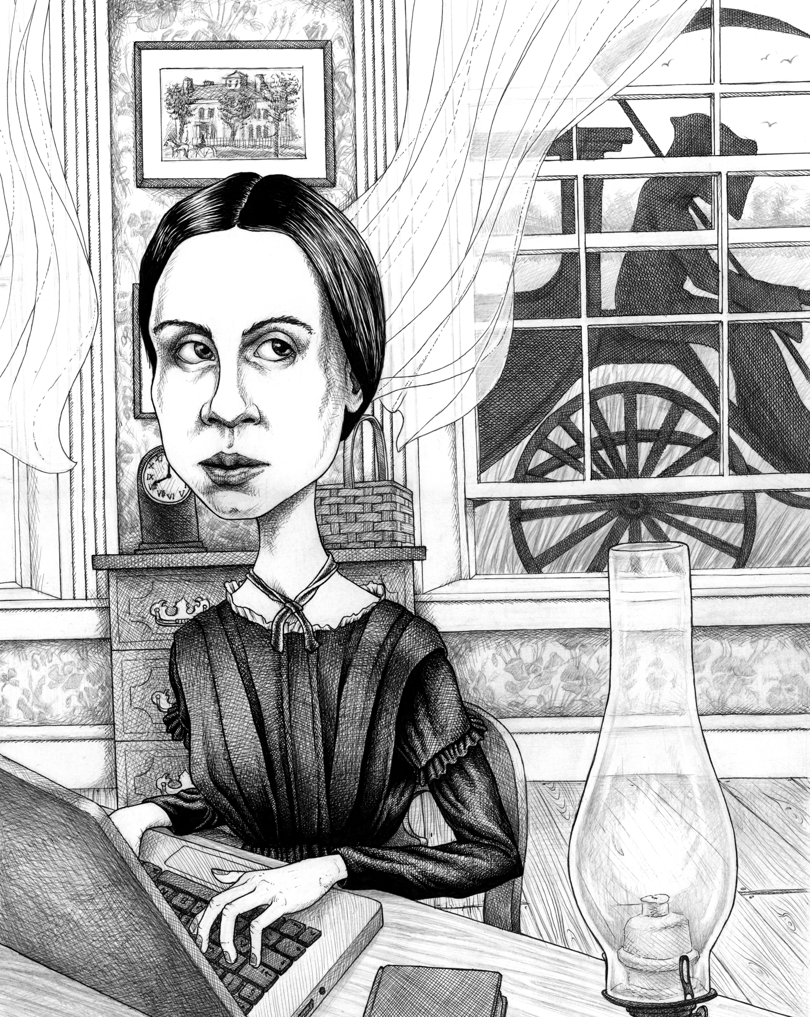 """Emily Dickinson"". Emily Dickinson poster and postcard design for publisher W. W. Norton & Co., 2014. Ink and pencil on Bristol board, A3 (14 x 11 inches). £320"