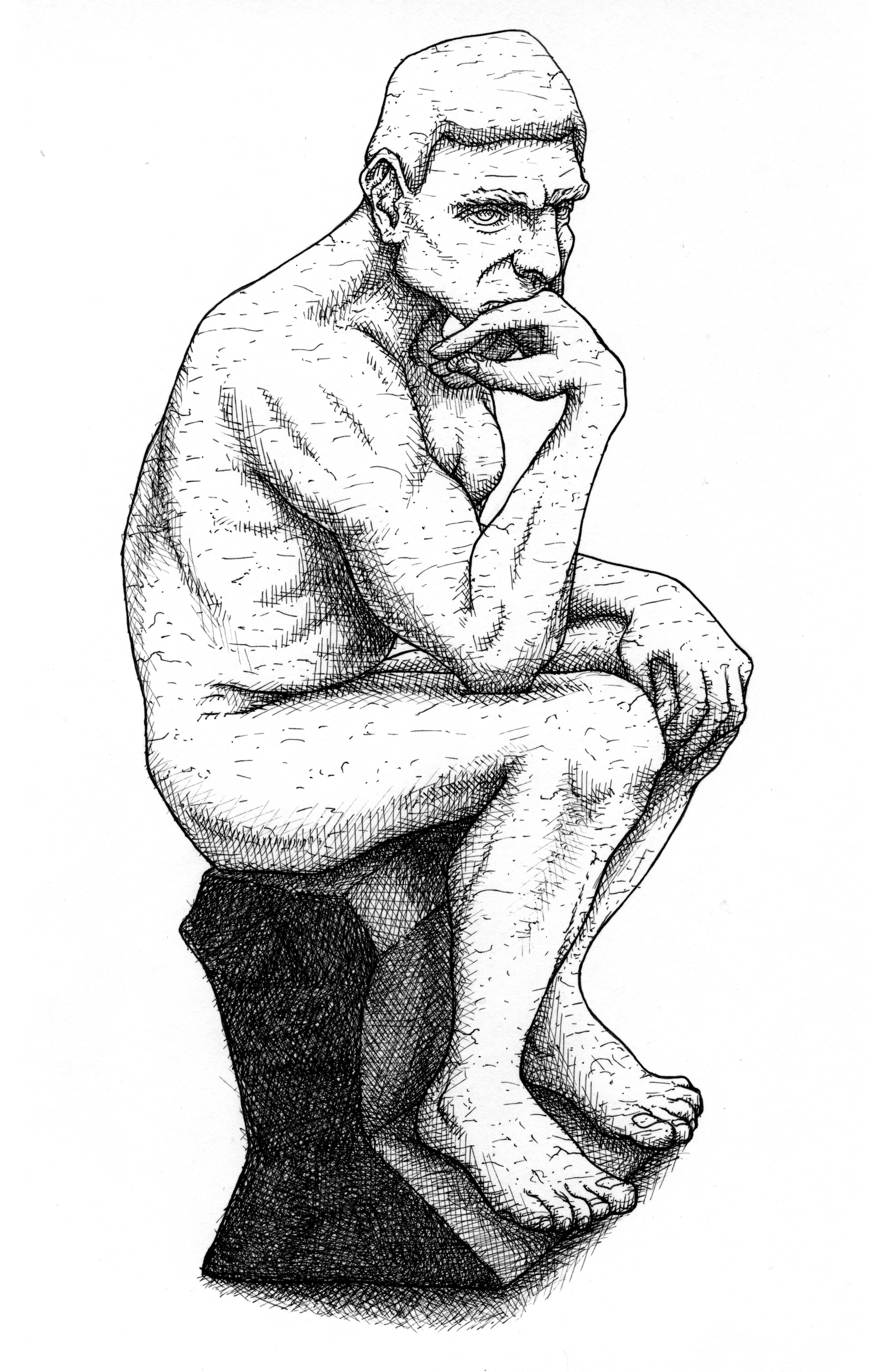 """The Thinker"". Illustration for ""A Beginner's Guide to Beyond Good and Evil"" (Blackwell, 2008). Ink on Bristol board, A4 (12 x 8.5 inches). £100"