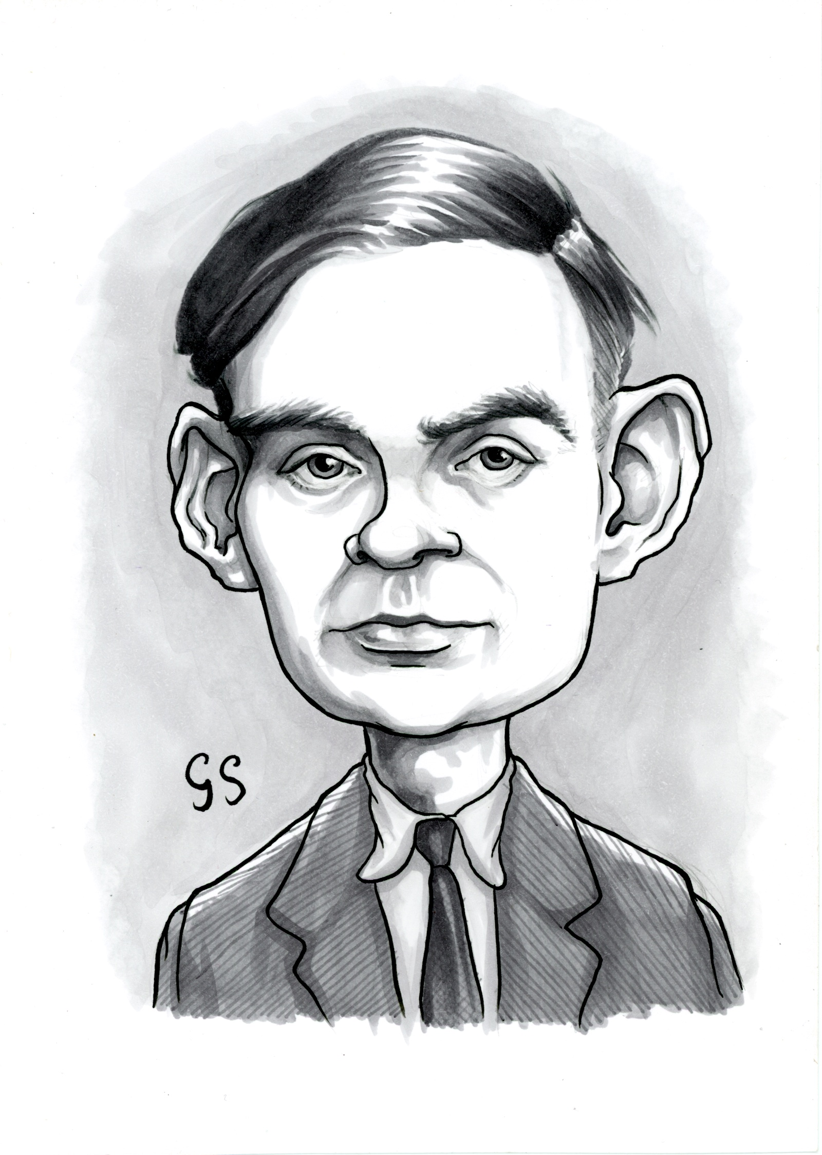 """""""Alan Turing"""", 2018. Ink and Copic markers on Bristol board, A5 (8 x 6 inches). £80"""